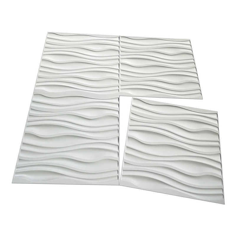 PVC Wave Board Textured 3D Wall Panels, White, 19.7' x 19.7' (12 Pack)