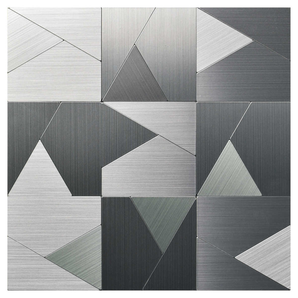 10 Tiles 12'x12' Peel and Stick Metal Backsplash Tile, Brushed Stainless Steel in Triangle Jigsaw